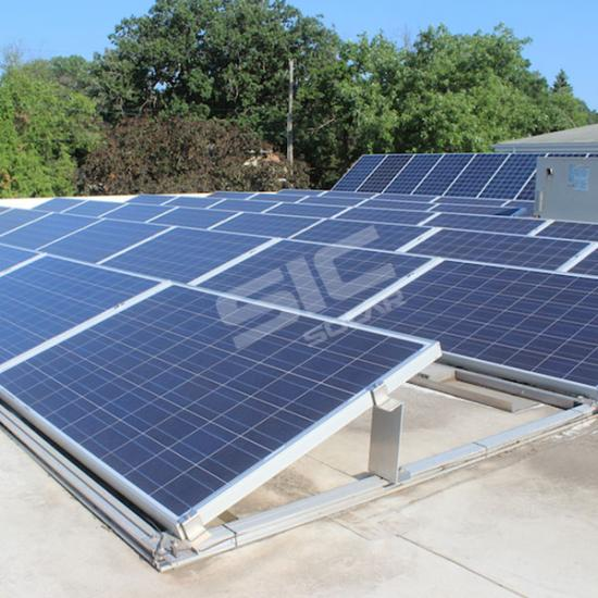 Ballasted roof mount solar racking